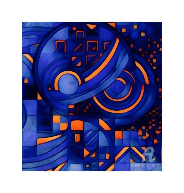 Corinne Sassi (Cjr sassi) - Abstrait et géométrie en bleu et orange
