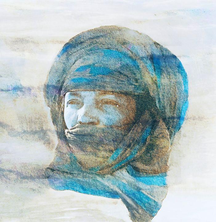 Touareg dans le vent bleu sable