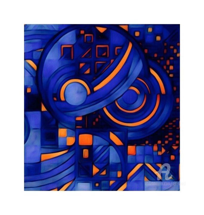 Abstrait et géométrie en bleu et orange